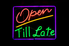 Open till late neon sign Royalty Free Stock Photo