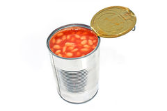 Open tin can of beans Royalty Free Stock Photography