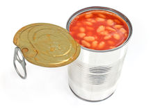 Open tin can of beans Stock Photo