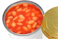Open tin can of beans Stock Photography