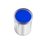 Open tin can with blue paint isolated on white Stock Images