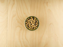 Open tin can with chickpeas, healthy diet. Top view of open tin can with chickpeas, simple dieting illustration Stock Image