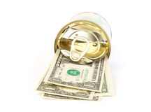 An open tin can of dollar bills with a pull tab Stock Image