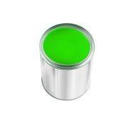 Open tin can with green paint isolated on white Royalty Free Stock Photo