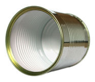 Open tin can without label. Tin can without label on white background for personalization or advertising Royalty Free Stock Photo