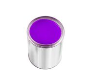 Open tin can with violet paint isolated on white Stock Image