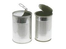 Open tin cans Royalty Free Stock Photos