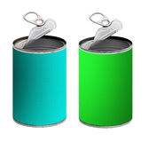 Open tin cans,green and turquoise - isolated  Royalty Free Stock Photos