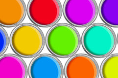 Open tin cans with paint, colorful Royalty Free Stock Image