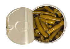 Open tin with green beans Royalty Free Stock Photography