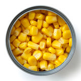 Open tin of sweetcorn  from above. Royalty Free Stock Image