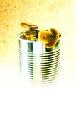 Open tincan of mushrooms Stock Image