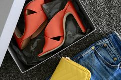 Open toe criss cross leather mule shoes. Fashion heels shoes in. Shoebox, terracotta color. Shopping concept Stock Image