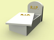 Open tomb. With the word rip in gold. Rest in Peace Royalty Free Stock Photography