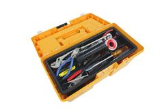 Open Tool Box. Open house hold tool box with a variety of tools stock image