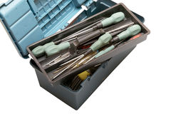 Open tool box with screwdrivers on top Stock Images