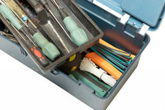 Open tool box top view Royalty Free Stock Images
