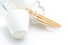 Open Toothpick Container. A macro shot of an open toothpick container over a white background Stock Photography