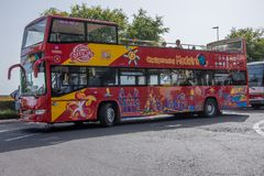 Open Top Bus. Open Top Sightseeing Bus in Funchal on the Portuguese`s Island of Madeira royalty free stock photography