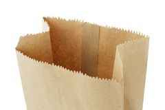 Open top empty brown paper bag royalty free stock photos