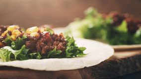 Open tortilla with beef, frillice and corn Royalty Free Stock Photo