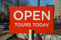 Open Tours Today. Sign advertising campus tours at the University of Chicago in the Hyde Park nieghborhood of Chicago, IL, USA Stock Photo