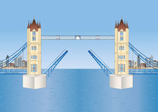 Open tower bridge in London Royalty Free Stock Photos