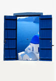 Open traditional Greek blue window on Santorini island Stock Photos