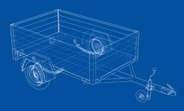Open trailer sketch. Vector. Rendering of 3d. Wire-frame style. The layers of visible and invisible lines are separated vector illustration