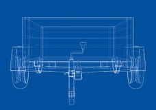 Open trailer sketch. Vector. Rendering of 3d. Wire-frame style. The layers of visible and invisible lines are separated royalty free illustration