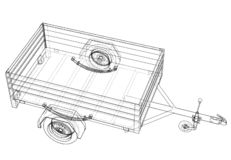Open trailer sketch. Vector. Rendering of 3d. Wire-frame style. The layers of visible and invisible lines are separated stock illustration