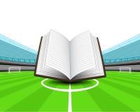 Open train book in the midfield of football stadium vector Stock Photo