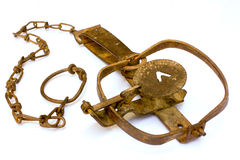Open trap. Rusty antique open animal trap Royalty Free Stock Photo