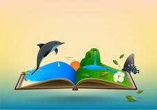 Open travel book Stock Photo