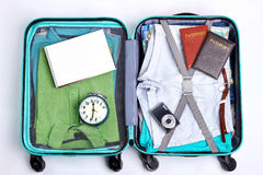 Open traveler suitcase close up. Stock Photo