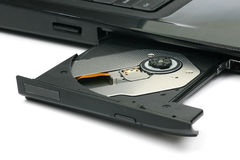 Open tray of a laptop. Dvd writer Stock Images