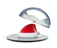 Open tray santa hat on a white background Stock Images