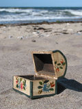 Open treasure-chest. Little, wooden chest on the beach (open Stock Images