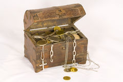 Open Treasure Chest. With coins and jewelry Royalty Free Stock Photo