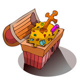 Open Treasure Chest filled with Gold. Stock Images