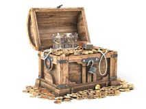 Open treasure chest filled with golden coins, gold and jewelry isolated on white background