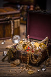 Open treasure chest Stock Images