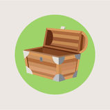 Open treasure chest isolated flat design Royalty Free Stock Images