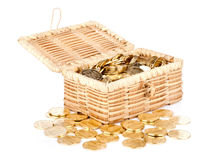 Open treasure chest with money on white Stock Images