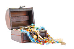 Open the treasure chest on a white background Royalty Free Stock Photos