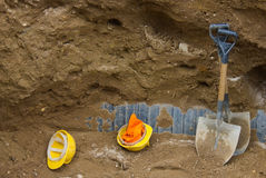 Open Trench. An open trench on a construction site Royalty Free Stock Images
