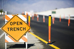 Open Trench' Sign Royalty Free Stock Photography