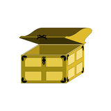 Open the trunk, decorated with a pattern. Wooden chest for your design Royalty Free Stock Photo