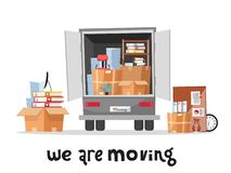 Open trunk of the truck woth stack af office things in cardboard boxes.Corporate Moving.Unloading or loading van. We are moving royalty free illustration