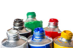 Open tubes of paint for painting Royalty Free Stock Photo